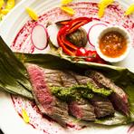 赤身と脂身の絶妙なバランスが、深い味わいを生み出す『加古川志方牛の炭火グリル(150g)』