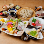 三田マルセ牛とおそばを一度に楽しめる豪華なコース『夜の和み膳』