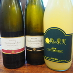 ワインを飲まない方でも安心♪ ラフランス100%ジュースや、ワイン用のブドウで作ったブドウジュース(赤・白)、ブラッドオレンジジュース等、、