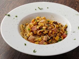 旬の『焼き玉蜀黍(とうもろこし)とベーコンのスパゲッティー』