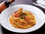 カニの旨みと手づくりソースが溶け合う『ワタリガニのトマトクリームスパゲッティ』