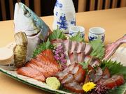 1日以上味噌漬けした刺身の盛り合わせ。生わさびをすって、日本酒とともにお召し上がりください。
