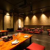 快適な和空間に座敷。豊富な料理とお酒が充実し、宴会もおまかせ