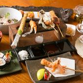 串ネタには新鮮な旬の魚介類を使用