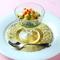 ホタテ貝の網焼きとキノコ、茄子のムースをホンレン草のソースで