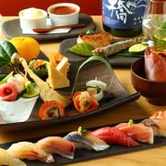 【KINKA】では歓送迎会に合わせて様々なコースをご用意。炙り寿司~デザートまで堪能できます。おしゃれな店内を個室感覚に貸切にして、プライベートな宴にも最適。歓送迎会は、ぜひ【KINKA】で!