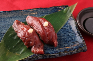 その日の新鮮な3種のお肉で彩る『肉寿司盛り合わせ』