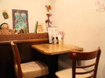 2名席があり、親しい人との食事にも最適