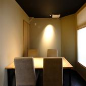落ち着いた雰囲気の完全個室があり、接待や会食におすすめ