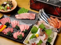 お肉も魚も楽しめるよくばりコース!宴会にオススメ♪ 2H飲放付5500円(税抜)