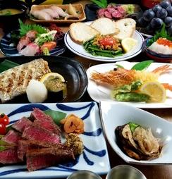 活鮑、ズワイ蟹、タラ白子など冬の旬素材をふんだんに使用、更に広島牛ヒレステーキまで…贅沢三昧の9品!