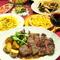 看板食材「ハモンセラーノ」「パイ生地ピッツァ」「アンガス牛ミスジのステーキ」が入ったコースです。