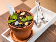 本物の植木鉢そっくりな見た目の、ユニークなデザートです。スコップの形をしたスプーンで掬うと、中からプリンが出てきます。