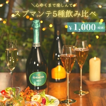 【90分間1,000円】スプマンテ5種飲み比べ~心ゆくまで楽しんで~