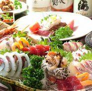 6~7種類ほど、赤身や白身、貝類などさまざまな旬魚を楽しめます。魚屋での経験を生かし店主が買付しているので、鮮度の良さはお墨付き。前日までの注文があれば関サバ・関アジの用意もできます。(写真は一例です)