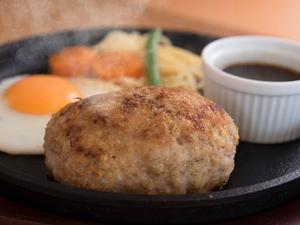 肉汁をたっぷり閉じ込めたボリューミーな逸品『レギュラー鉄板ハンバーグ』