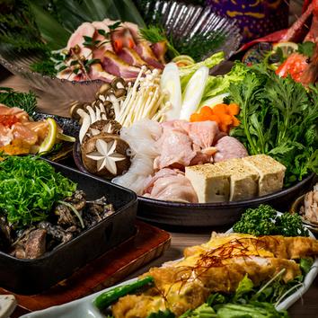 -地鶏コース-「地鶏の柚子塩鍋」3時間飲み放題付8品3499円