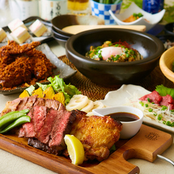 厳選した牛・豚・鶏の肉の盛合せが人気!さらに夏鴨ローストや子羊の陶板焼き~ジンギスカン風~付き♪