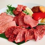 北海道和牛上カルビ、北海道和牛ハラミ、北海道和牛ヒレスライス、北海道和牛リブロース、ミニ焼き野菜
