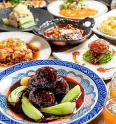 飲み放題付き!餃子、油淋鶏、エビチリ、肉団子、麻婆豆腐、炒飯など全9品!
