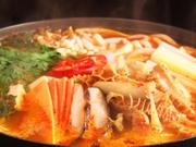 ホルモン鍋+チヂミ一品(海鮮チヂミ、桜海老チヂミ、ふわとろもちチヂミ、コーンマヨチヂミ)+〆のラーメン