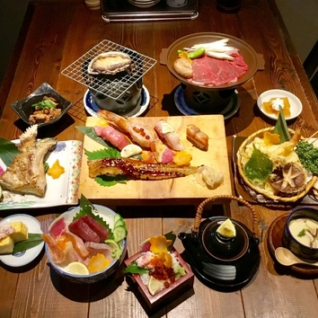 千壽贅沢ディナー!アワビ、飛騨牛ロース陶板焼付き3,980円