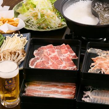 三元豚+国産鶏しゃぶ食べ放題コース