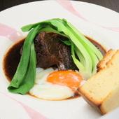 お肉の旨味がぎっりし詰まった、至福の味わいを堪能『京都姫牛ランプの角煮 温泉卵のせ』