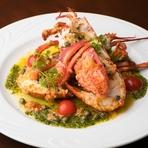 ロブスターをご注文のお客さまには、グリル・ブイヤベース・グラタンから調理方法をお選び頂きます。水槽から揚げたての新鮮な素材の、プリプリした食感と海の香りをお楽しみ下さい。