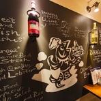 店舗名である【SAKANAZA】、実は「肴座」をローマ字表記したもの。港町ではあるものの、料理は肉バルに近いラインナップ。お酒とおつまみをカジュアルに楽しめる気軽な雰囲気を大切にしています。