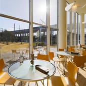 芝生広場を眺めながら、ゆったりカフェタイム