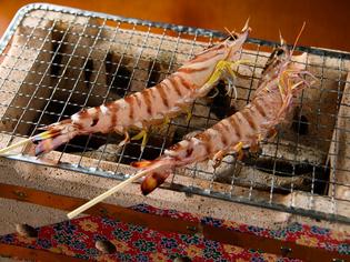 頭からしっぽまで、一尾丸ごと食べられる『活車エビ七輪焼』