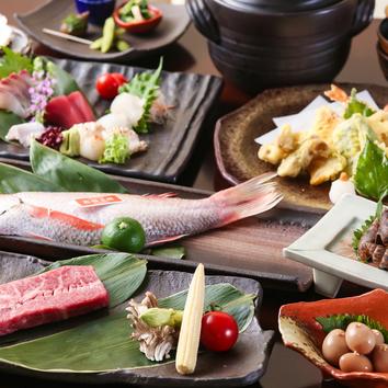 いまじんコース3500円 昼網の造り5種・旬魚の煮つけなど全9品