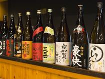焼酎や日本酒などのお酒も充実