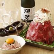 月見鮪で食すトロ肉タワー鍋