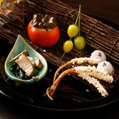 『前菜』 ※画像は一例。すすき牛蒡 銀杏翡翠揚げ いかソーメン生姜 ほうれん草 焼椎茸 衣かつぎ