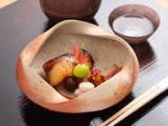 滋味深い『味噌漬け焼き 針葱と奈良漬け刻み 銀杏、零余子唐揚げ 松葉ざし 酢取り茗荷』