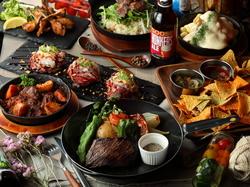 1番人気のコチラのプラン♪【炙りリブロースのドームカルパッチョ】などこだわりの肉料理が楽しめます!!