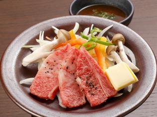 地元産銘柄牛を使った『東伯牛陶板ステーキ しゃんしゃん御膳』