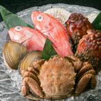 店舗1Fにあるのは、老舗鮮魚店「旭屋佐藤本店」。確かな目利きで吟味された多彩な鮮魚が並びます。選び抜かれた食材は、料理人の技と経験で至極の一皿へと昇華。素材本来の旨味が際立つ料理で海の幸を満喫できます。