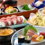 当店の肉寿司ともつ鍋は大人気!鍋も3種から1種を選べるカスタマイズできるコースとなっております!
