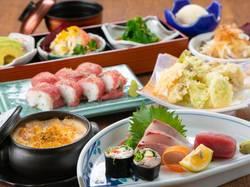 今話題の『肉押し寿司』をメインに盛り込んだコースです!トレンドの先駆けをし、みんなに自慢しちゃおう!