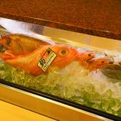 瀬戸内海を中心に、山陰や九州、北海道の季節の鮮魚が集う