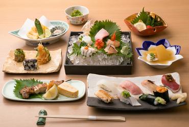 大将渾身のつまみと寿司、旬の刺身をお得なセットに『貴コース』