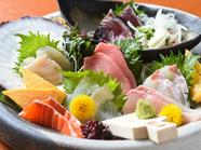 産地直送で届く新鮮な旬の魚介が盛りだくさん『神楽盛り 鮮魚七種程度』