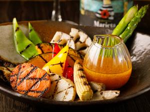 彩り野菜の温サラダ 野菜のドレッシング