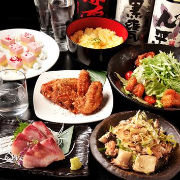 日から木曜限定!☆2時間飲み放題+創作料理6品【3500円コース】