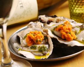 生牡蠣と生雲丹のポン酢かけ