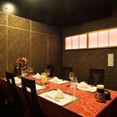 5部屋の個室席を用意。プライベートな会食に