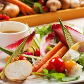 新鮮な野菜10種類以上ご用意!盛り放題バーニャカウダー